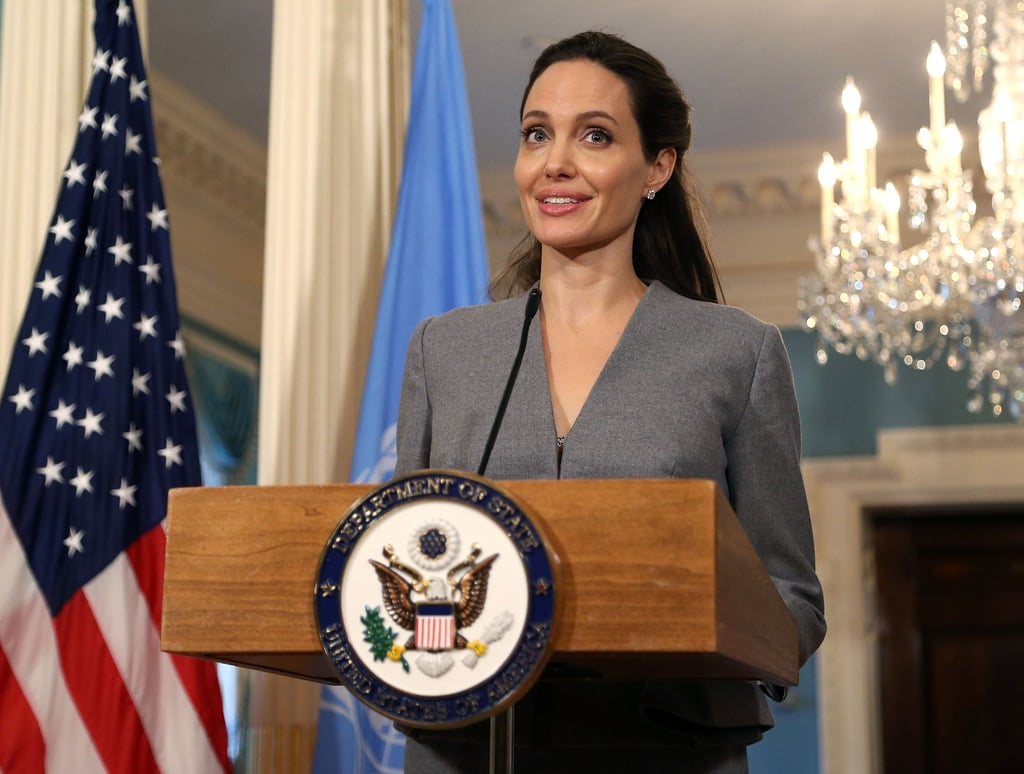"Angelina Jolie made a special appearance at the US Department of State in Washington DC on Monday evening. The actress — who serves as the UN's High Commissioner on Refugees — met with Secretary of State John Kerry before taking the podium to discuss refugees and other important issues in honor of World Refugee Day. While on stage, Angelina got emotional as she told the audience to ""take a moment and to truly grasp what a refugee crisis of today's magnitude means for peace and security in the world."" She then continued, ""Today, partly in response to this crisis, we are seeing rising intolerance and xenophobia. But strength lies in mastering and channeling our emotions so that we pursue policies that reduce, not inflame, threats to our security. We need leadership. We need solutions. So that is my ask and my focus today."" The subject matter is one that is close to Angelina's heart. Throughout the years, the actress has made several appearances all over the world to commemorate the day of observance. Most recently, it was revealed that Angelina would be joining the London School of Economics as a professor. Check out her latest interview with BBC now."