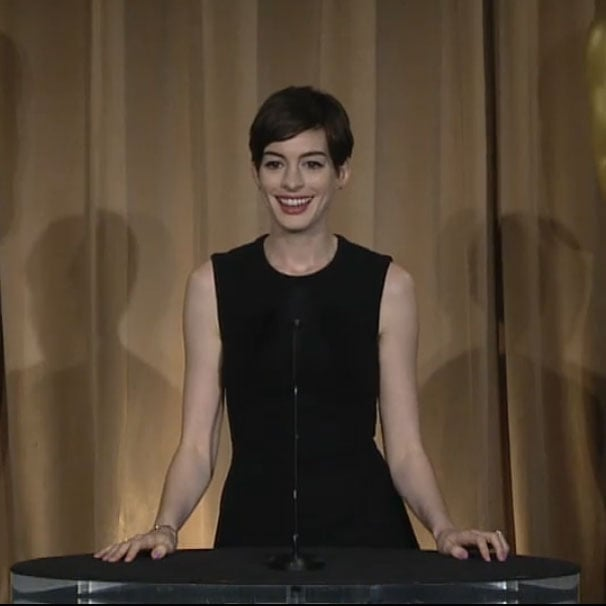 Anne Hathaway At Oscars Luncheon (Video)