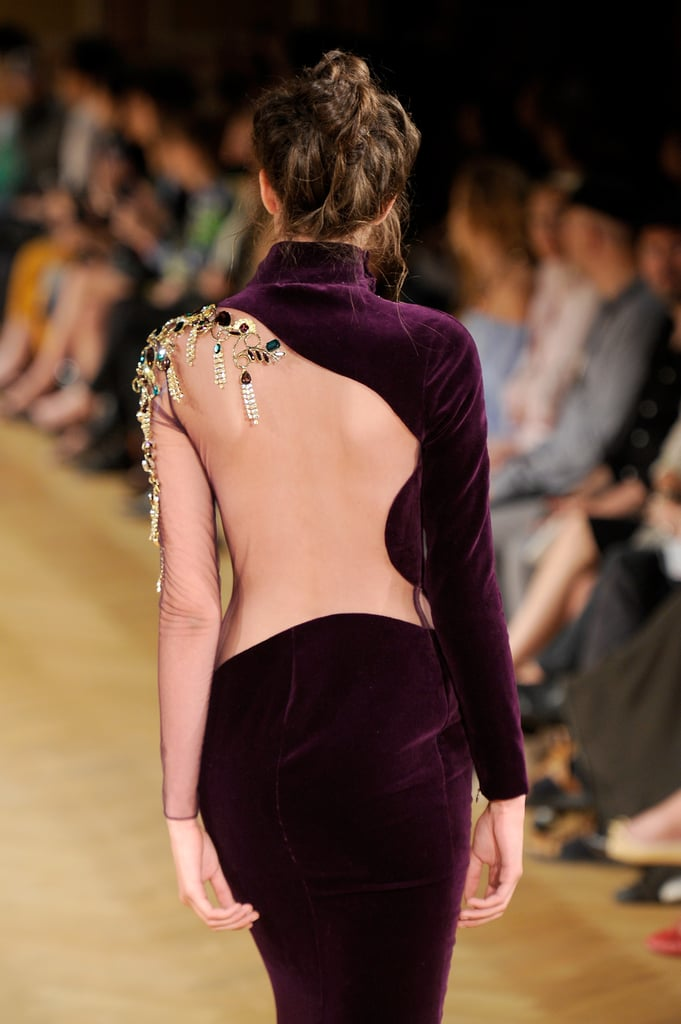 Backless meets long-sleeves and a high neck on the Tony Yaacoub Haute Couture Fall 2013 runway.