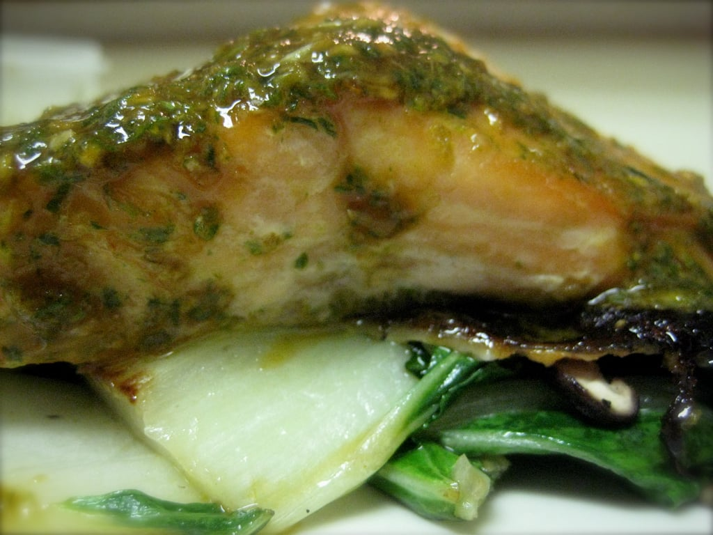 """Salmon """"Bulgogi"""" With Bok Choy and Mushrooms"""
