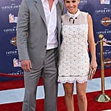 Chris Hemsworth and Elsa Pataky were arm in arm on the Captain America carpet.