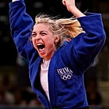 Judo competitor Automne Pavia of France celebrated her bronze medal win.