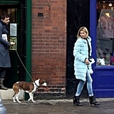 Kate Moss was out and out about with Jamie Hince and their dog.