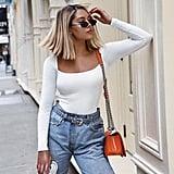 High-Waisted Jeans, Long-Sleeve Bodysuit