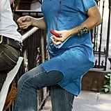 Kate rocked the trend with a bright blue t-shirt dress while out in Soho, New York in 2008.