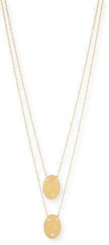 Jennifer Zeuner Double Oval Disc Personalized Necklace EDOvC