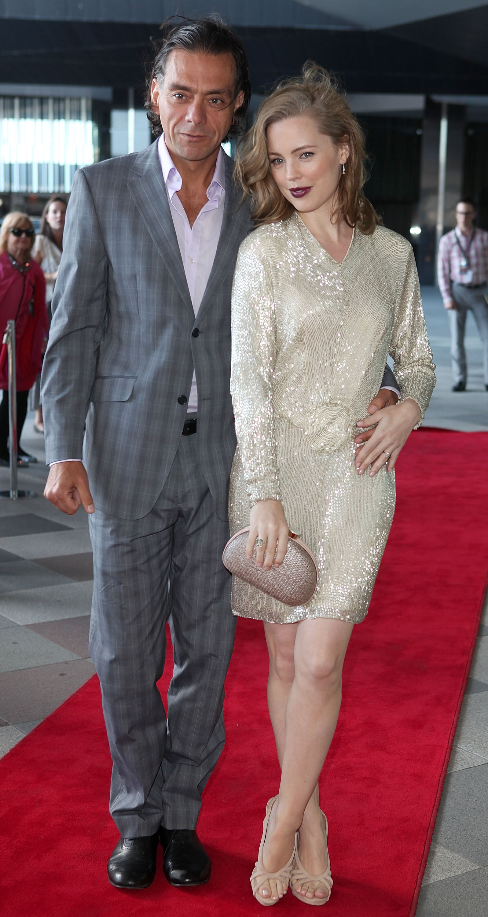 Melissa George shone in a sequinned cream number.