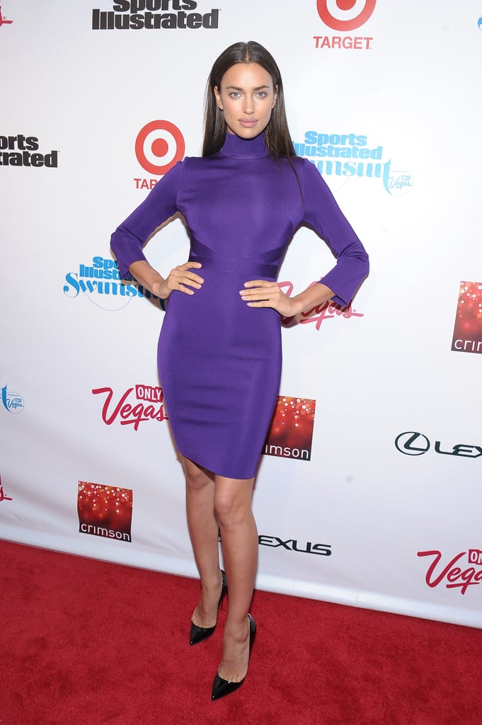Irina Shayk wore purple.