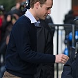Prince William stepped out in London to visit his wife, Kate Middleton, in hospital.