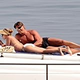 Scarlett Johansson lounged on a boat with her bodyguard during a July 2012 trip to Italy's Taormina Sea.