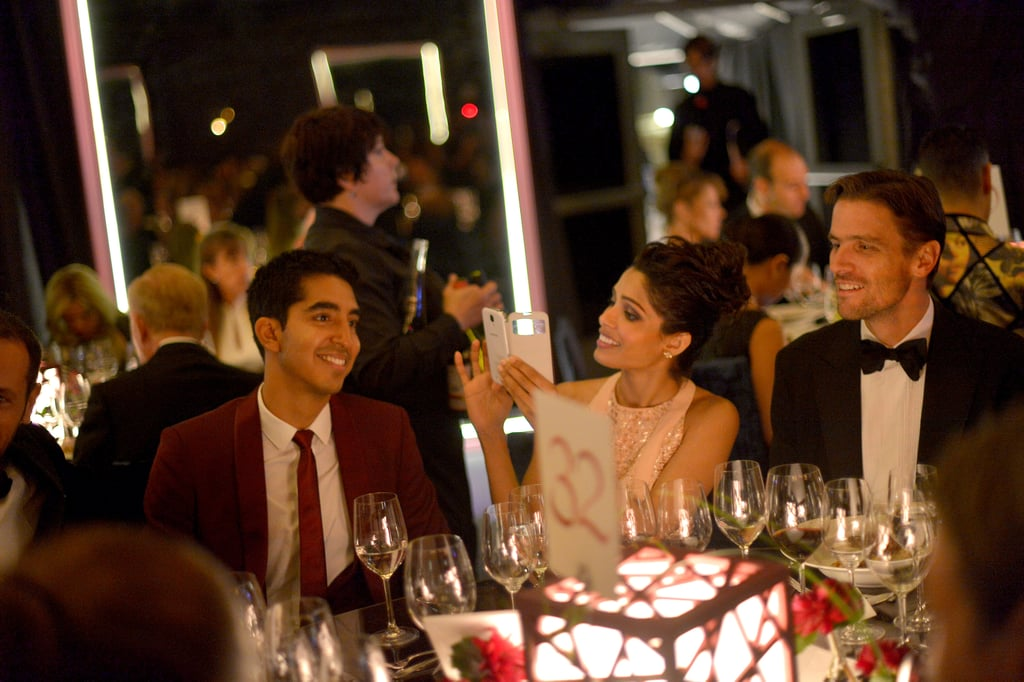 Lovebirds Dev Patel and Freida Pinto shared a smile during dinner at the Annenberg Gala.