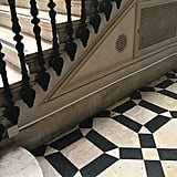 Stunning geometric black and white tiles Nancy spotted abroad.