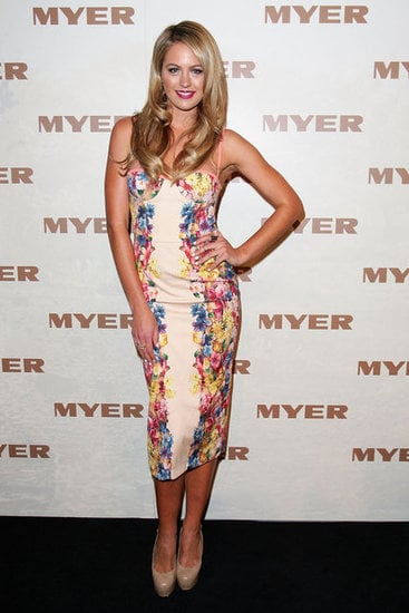 Jesinta Campbell wowed us at the Myer SS 2013 Collection, opting for this floral-printed Manning Cartell dress. We're digging the length (above the knee would have been too much, no?), and we adore the bustier-style neckline. Sexy, but sweet.