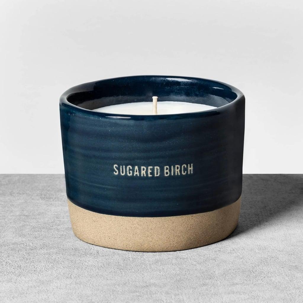Reactive Glaze Ceramic Container Candle in Sugared Birch