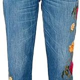 What we love about this 7 For All Mankind option ($283) is not only the darker wash but the dark floral embroidery, too.