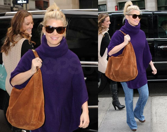 Photos of Jessica Simpson Wearing an Oversized Purple Sweater in NYC