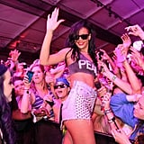Rihanna got rowdy with the crowd in a pair of studded cutoffs and a crop-top.