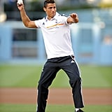 Real Madrid soccer star Cristiano Ronaldo tried his hand at baseball when he threw the first pitch at the LA Dodgers game in July 2013.