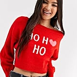 ASOS Design Christmas Jumper With Ho Ho Ho Slogan
