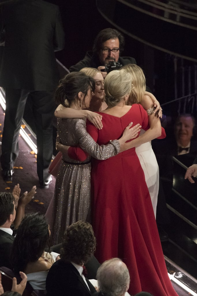 """Frances McDormand took home the Oscar for best actress for her outstanding performance in Three Billboards Outside Ebbing, Missouri on Sunday night, and she had everyone on their feet during her inspiring acceptance speech preaching solidarity. Well, her fellow best actress nominees also personified that in a simple moment not seen on TV. Meryl Streep, Sally Hawkins, Margot Robbie, and Saoirse Ronan were spotted taking part in an adorable group hug after Frances's speech. Timothée Chalamet captured it perfectly when he called them """"legendz"""" in his Instagram story that night, and Twitter also had feelings about the moment. find someone that looks at you like sally hawkins, saoirse ronan and margot robbie look at meryl streep pic.twitter.com/rF9xBZTHRG — kirsten (@kkkirsten) March 5, 2018 I want to be inside this hug... jus putting it out in the universe 🦋... #MerylStreep #francismcdormand @MargotRobbie #SallyHawkins #SaoirseRonan #oscars #WomenWeLove pic.twitter.com/1AjGU0uaGG — Neha Dhupia (@NehaDhupia) March 5, 2018 Meryl Streep, Margot Robbie, Saoirse Ronan and Sally Hawkins hugging after the ceremony is all I needed pic.twitter.com/9ZPPmsuZNI — Abs (@margotrobbve) March 5, 2018 We are right there with all of these tweets and are slightly jealous that we couldn't be in the middle of this. Read ahead to see it for yourselves, and you'll see what we mean.      Related:                                                                                                           Presenting the 2018 Oscar Winners"""