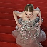 Elle Fanning Dashed up the Stairs in Her Zuhair Murad Gown