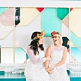 "Liz and Molly's ""confetti color love extravaganza"" took place at The Fig House in Los Angeles. See the wedding here!"