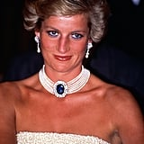 Diana flashed a sweet smile while attending a banquet in Budapest, Hungary, in May 1990.