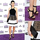 Lucy Liu took a walk on the wild side with a little help from Roberto Cavalli. Her halter-style, full-skirted look included the brand's signature leopard print and eyelet texture. But the real showstopping detail? Her insanely high platforms sans heels! She finished the look with a croc-infused envelope clutch.