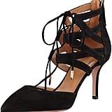 Aquazzura Belgravia Lattice Suede Sandal, Black ($725)