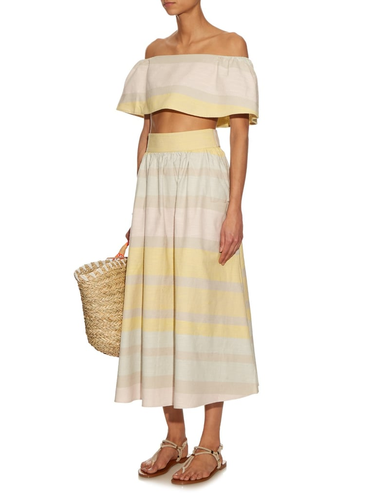 Mara Hoffman Striped Organic Crop Top ($167) and Skirt ($278)