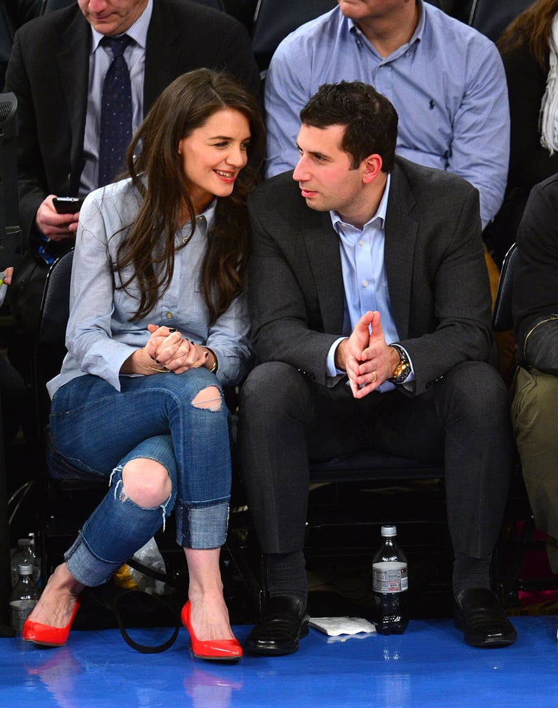 Katie Holmes attended a NY Knicks game with her agent Adam Schweitzer in February.