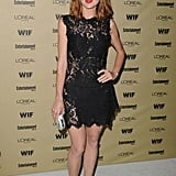 At a pre-Emmys party, Glee's Jayma Mays showed off her sexy side in a black lace minidress by Porcelain.