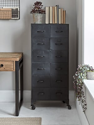 Cox & Cox Office Stylish Black Industrial Style Iron Cabinet