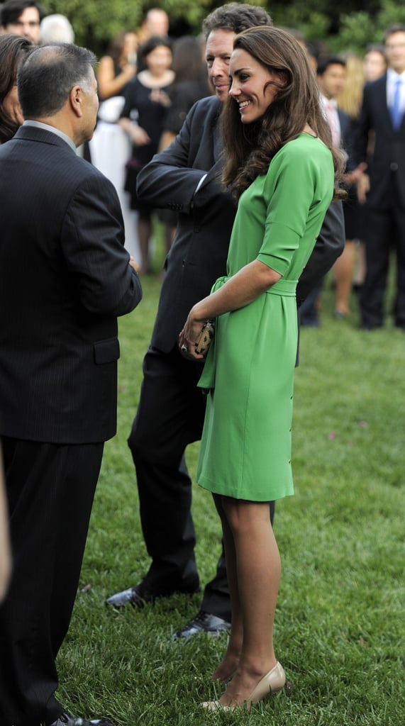 Kate Middleton wears green Diane Von Furstenberg at reception in LA.