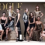 Gracing the 35th anniversary edition of Vogue Brazil alongside Brazil's other model beauties.