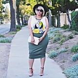 A Graphic Tank Top, a Pencil Skirt, Heels, and a Hat