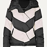 Perfect Moment Hooded Two-Tone Striped Quilted Down Ski Jacket