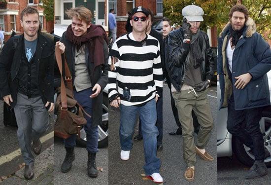 Pictures of Take That Robbie Williams, Mark Owen, Gary Barlow, Jason Orange, Howard Donald at Radio 1 Live Lounge