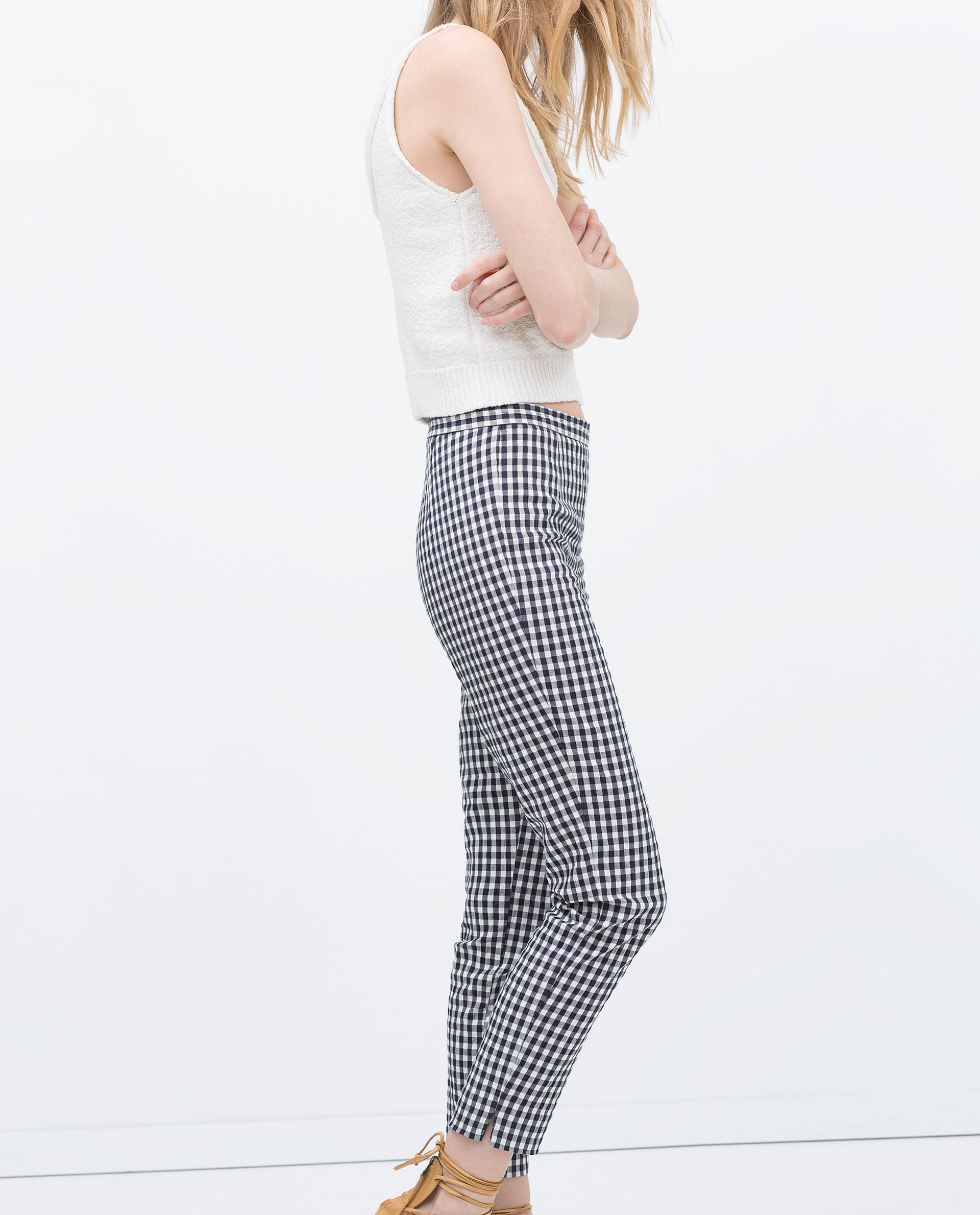 Zara Checked Skinny Trousers ($40)