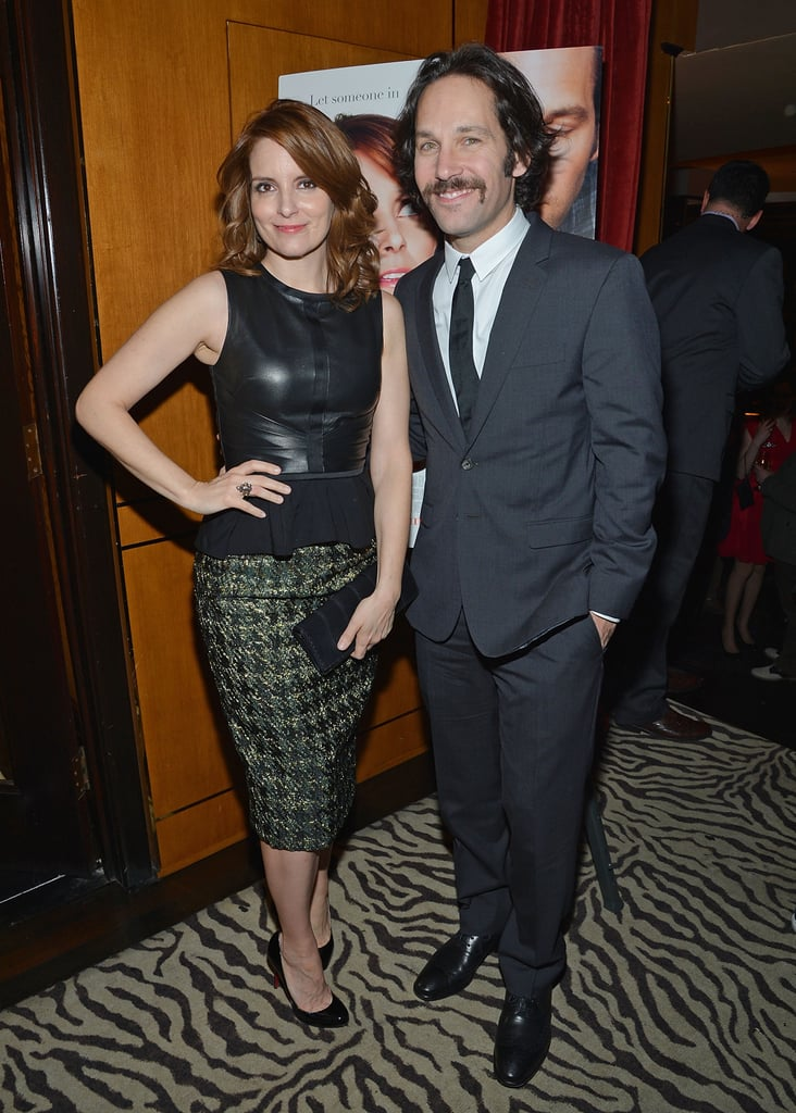 """Tina Fey and Paul Rudd joined up to premiere their new flick, Admission, in NYC last night. Paul sported a new retro mustache that he had to grow for Anchorman 2, which is currently filming in Atlanta. Paul told The Hollywood Reporter that everyone is """"a bit giddy"""" about the highly anticipated sequel, adding that the cast members — which include Will Ferrell and Christina Applegate — """"all have such fond memories of the first one."""" While Paul's facial hair raised a few eyebrows at the premiere, the real focus of the night was Taylor Swift's recent slam of Tina and Amy Poehler in an upcoming issue of Vanity Fair. When asked about Tina and Amy's joke about her during the Golden Globes, Taylor recited a quote about there being """"a special place in hell for women who don't help other women."""" Tina talked to Entertainment Tonight about Taylor's remarks during the premiere, saying that she """"did not see that one coming."""" She added, """"It was a joke. It was a lighthearted joke."""""""