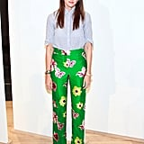 It takes major might to wear such bold pants, but her effortless pairing emboldens even the faintest-of-fashion-heart.