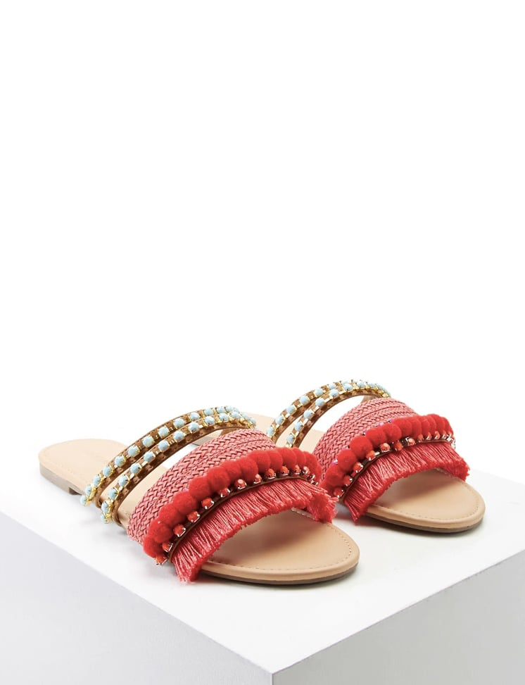 Forever 21 Fringed Pom-Pom Sandals