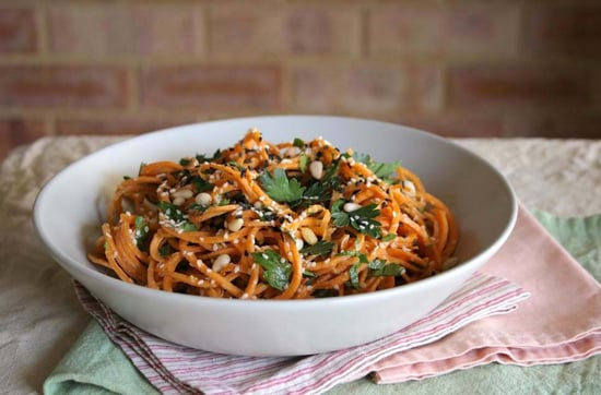 Carrot Pasta With Tahini Garlic Sauce