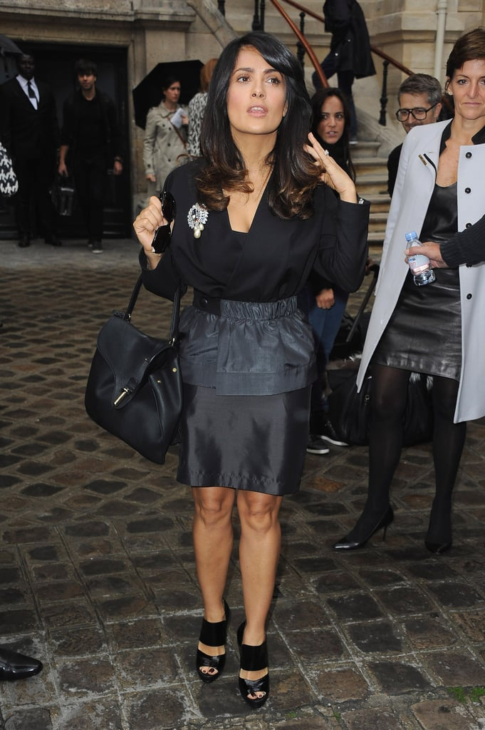 Salma Hayek carried a black purse to the event.