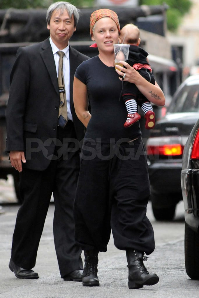 Pink carries Willow in NYC.