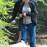 Anna Faris and Chris Pratt spent the morning walking their three dogs in LA.