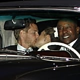 Newlyweds Drew Barrymore and Will Kopelman put on a show leaving their June wedding in Montecito, CA.