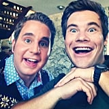 Treblemaker Platt and former Treblemaker Adam DeVine made silly faces on the set.