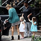 Sarah Jessica Parker and a nanny helped Loretta Broderick and Tabitha Broderick get into a waiting vehicle.