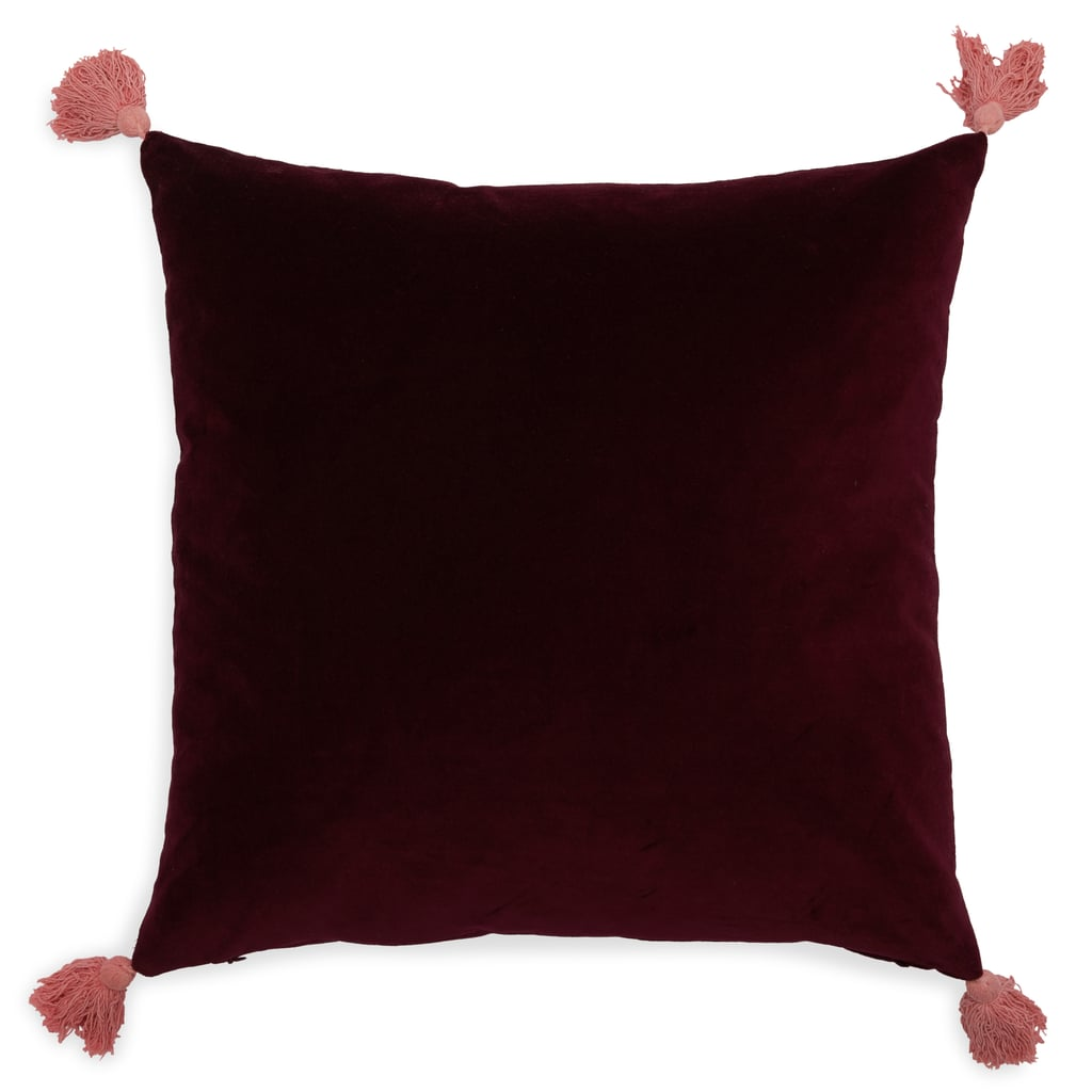 Velvet Decorative Throw Pillow with Tassels